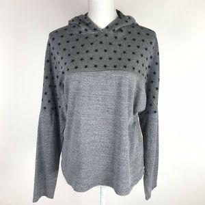 Monrow Star Oversized Hoodie Sweatshirt Gray